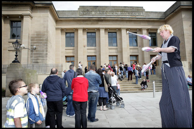 People queuing outside the Great North Museum: Hancock when it re-opened in May 2009