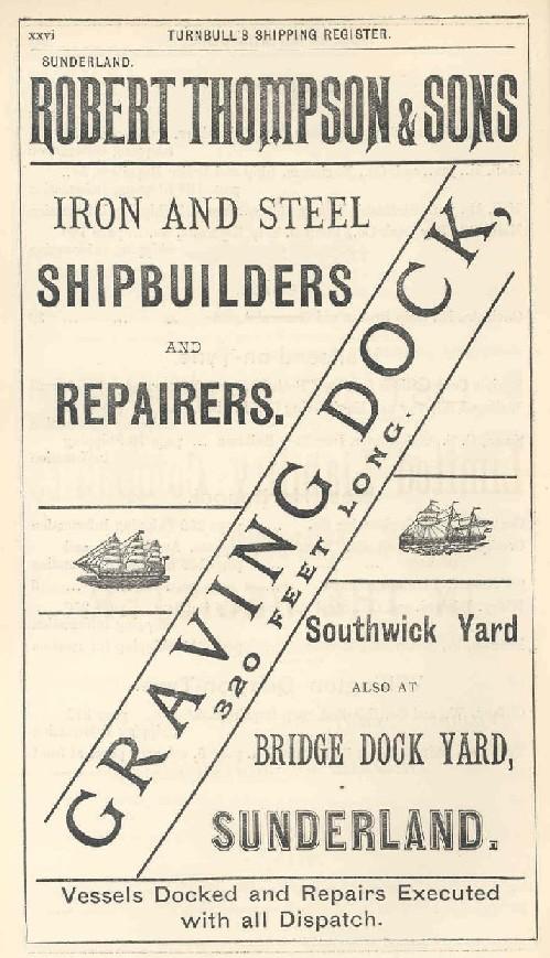 Robert Thompson advert – caption 'from Turnbull's Register 1889'