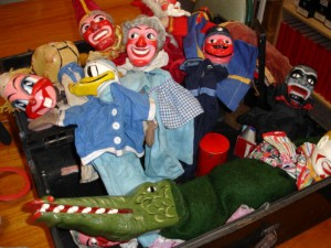 Just some of the puppets from Adam's Punch and Judy collection