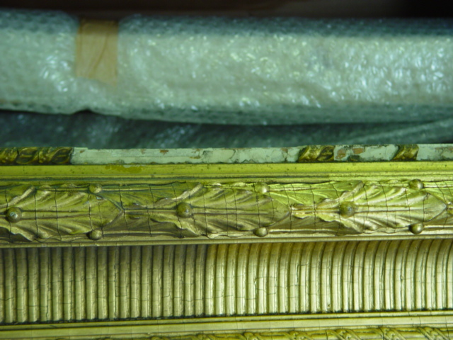 Cleaning the Emmerson frame for display many of the mouldings were missing and had to be replaced