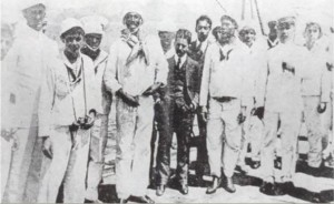 Joao Candido (fourth from left) with reporters, officers and sailors on the battleship, Minas Gerais, 26 November 1910, the final day of the mutiny