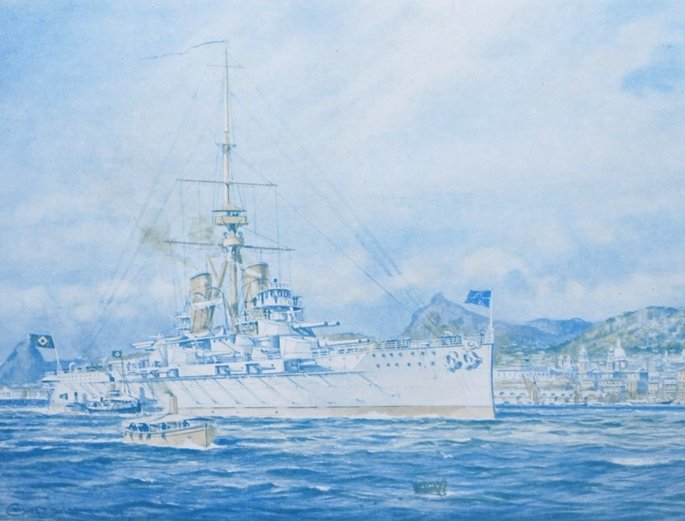Artist's impression of 'Minas Gerais' on the launch card