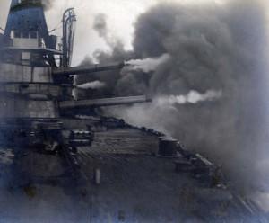 Minas Gerais firing a broadside of her 12 inch guns