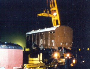 The Covered Carriage Truck being craned into the Sidings Area by a BR crane in 1977