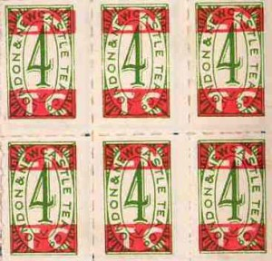 London and Newcastle Tea Co. dividend stamps, about 1950s to 1960s. TWCMS : 2000.3030.2