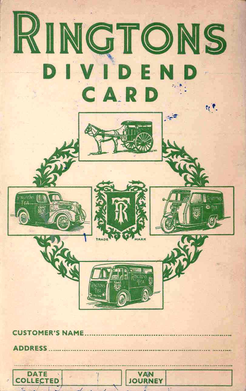 Ringtons dividend card, about 1950s. TWCMS : 2000.3030.3