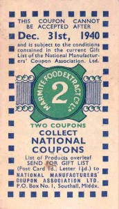 Marmite coupon, about 1940. TWCMS : 2009.1494