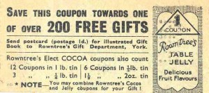 Rowntree's Table Jelly coupon, about 1930s. TWCMS : 2009.1496