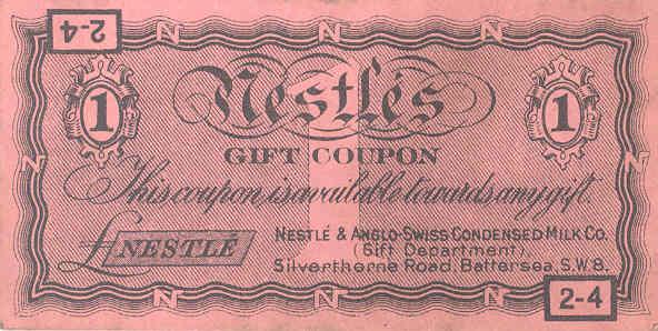 Nestlé coupon, about 1930s. TWCMS : 2009.1497