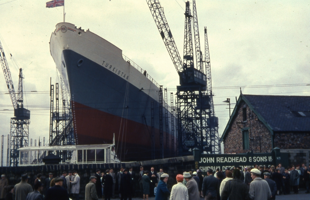Launch of the Turkistan at Readhead's shipyard, South Shields