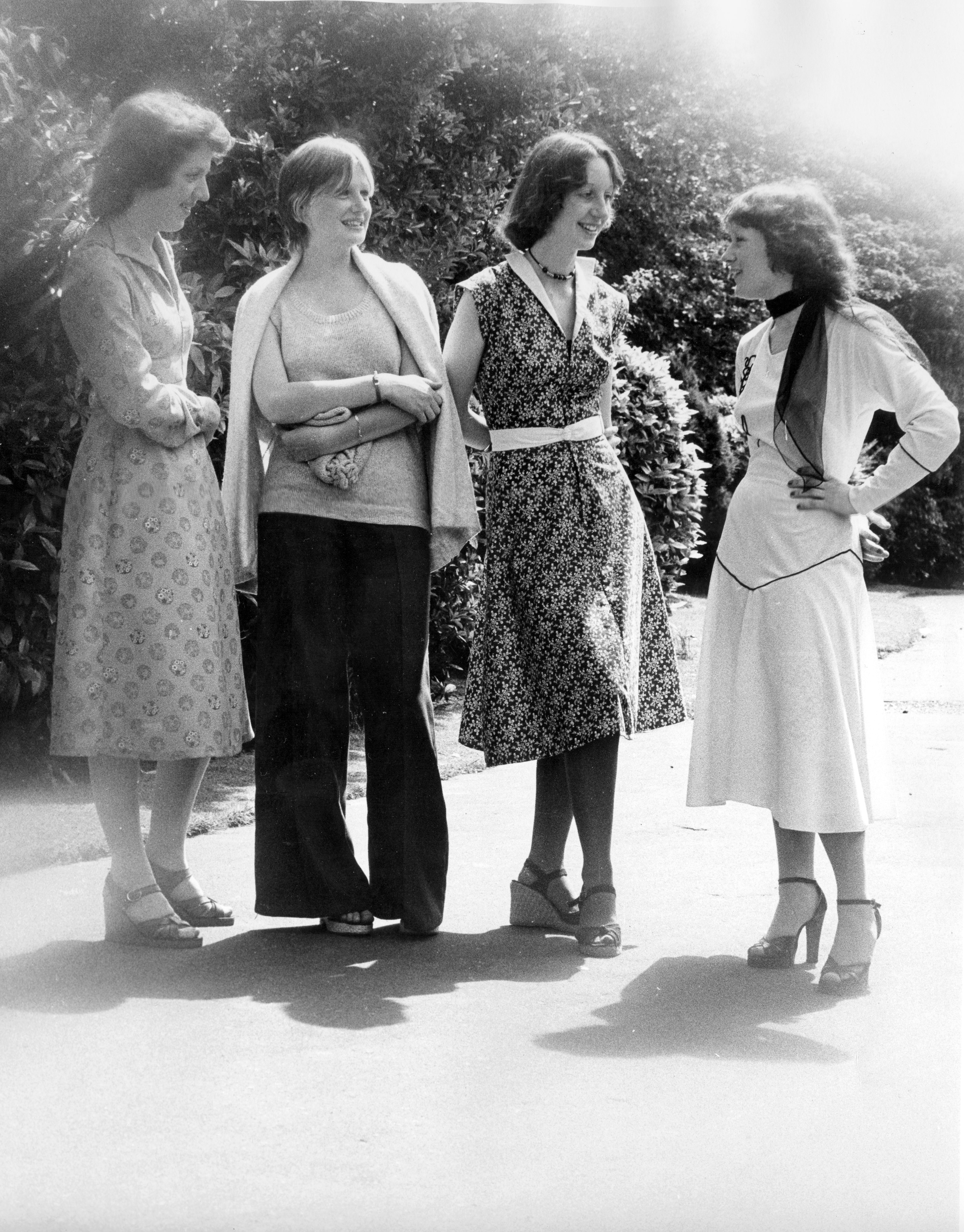 Fashionably dressed students at South Shields Marine and Technical College, about 1970s