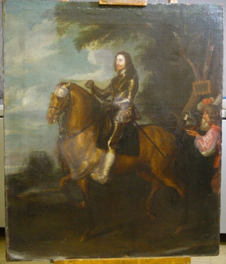 This is how the painting came into the studio. some areas had had varnish removed and the canvase had started to detatch from the stretcher bars