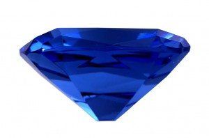 Glass replica of the Hope Diamond (side view)
