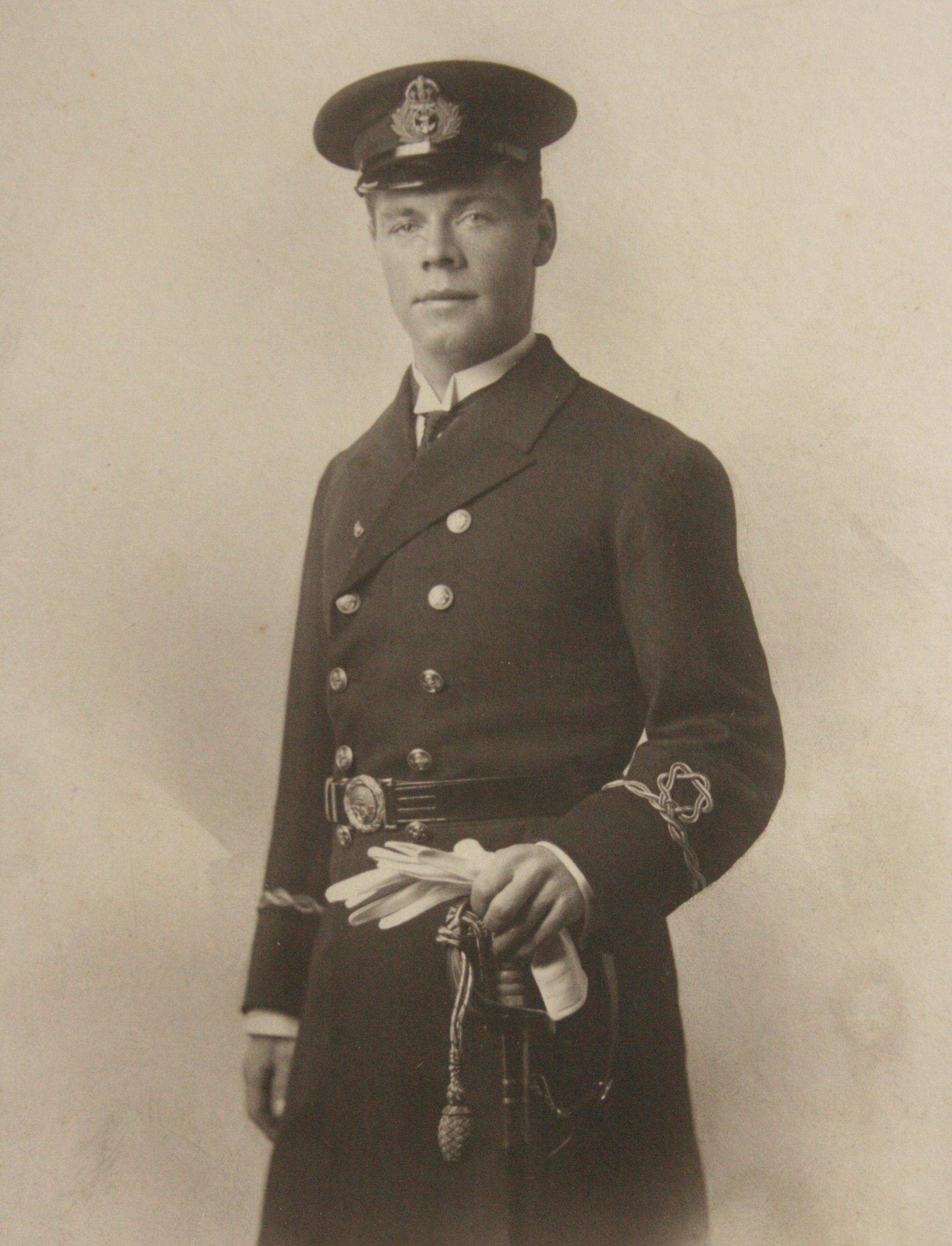 James Hooper in Merchant Navy dress uniform