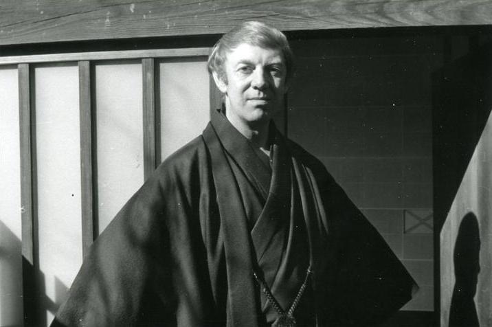 James Kirkup wearing a kimono