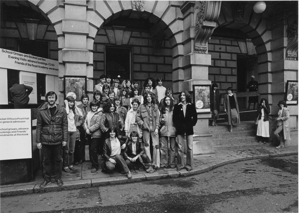 Students and lecturers outside the Royal Academy of Art