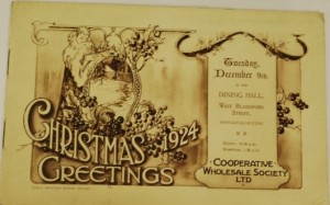 Co-operative Christmas Dinner Programme from 1924 TWCMS: 2011.1414