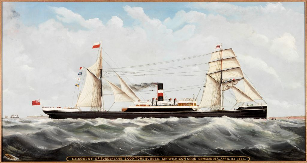Oil painting of the steam ship ss Cogent 1884 sailing into the wind
