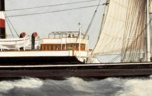 Detail of painting of ss Cogent showing her bridge amidships with the pole compass on the front