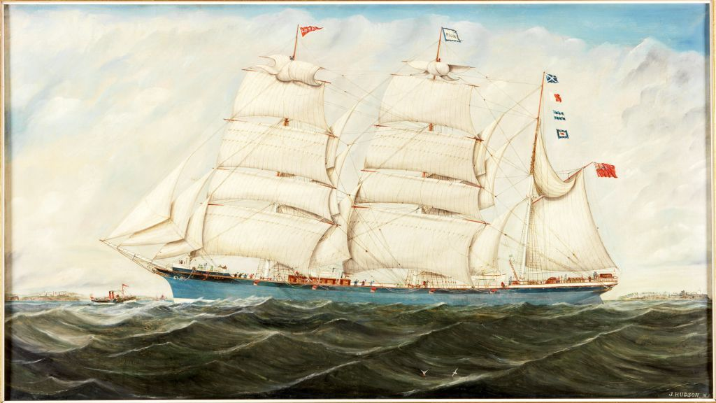 Oil painting of the Sunderland-built barque Lota 1892 under sail. She has a blue hull and there is a coast in the background as she sails on the starboard tack - wind from the right hand side of the ship looking forward.