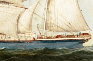 Detail of the painting of the barque Lota 1892 showing the pole compass just forward of the mizzen mast, out of the way of the sails and rigging