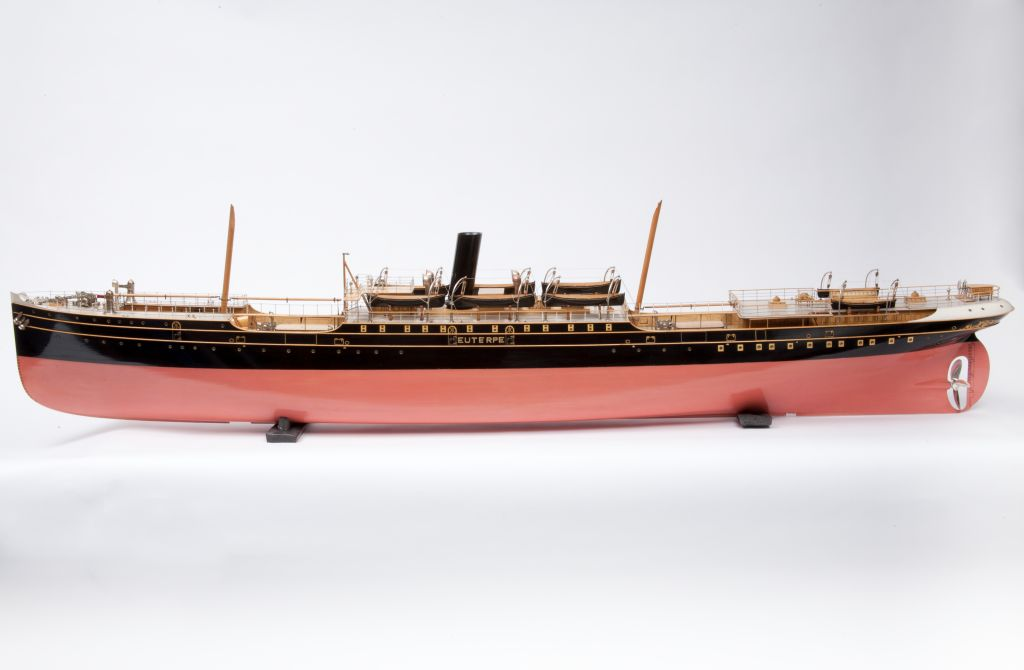 Builders model of the Sunderland-built ship ss Euterpe 1886 painted pink below the waterline, black above with a black funnel and natural wood decks and stump masts.