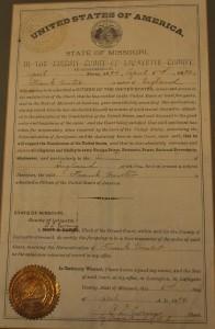 American naturalisation paper for Frank Hunter, 1894