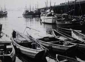 boats moored at North Shields fish quay, 1970s