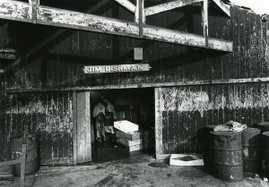 shed at North Shields fish quay with 'Jim Dishman' painted above the door, 1970s