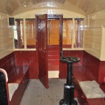 The interior of the brake van showing the all important brake handle centre right.