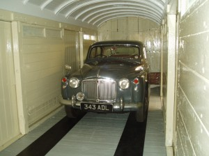 It is 10am and the car is safely positioned in its display position where it will be seen by visitors within the wagon.