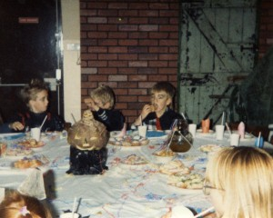 Children at a Halloween party in South Shields mid 1980s