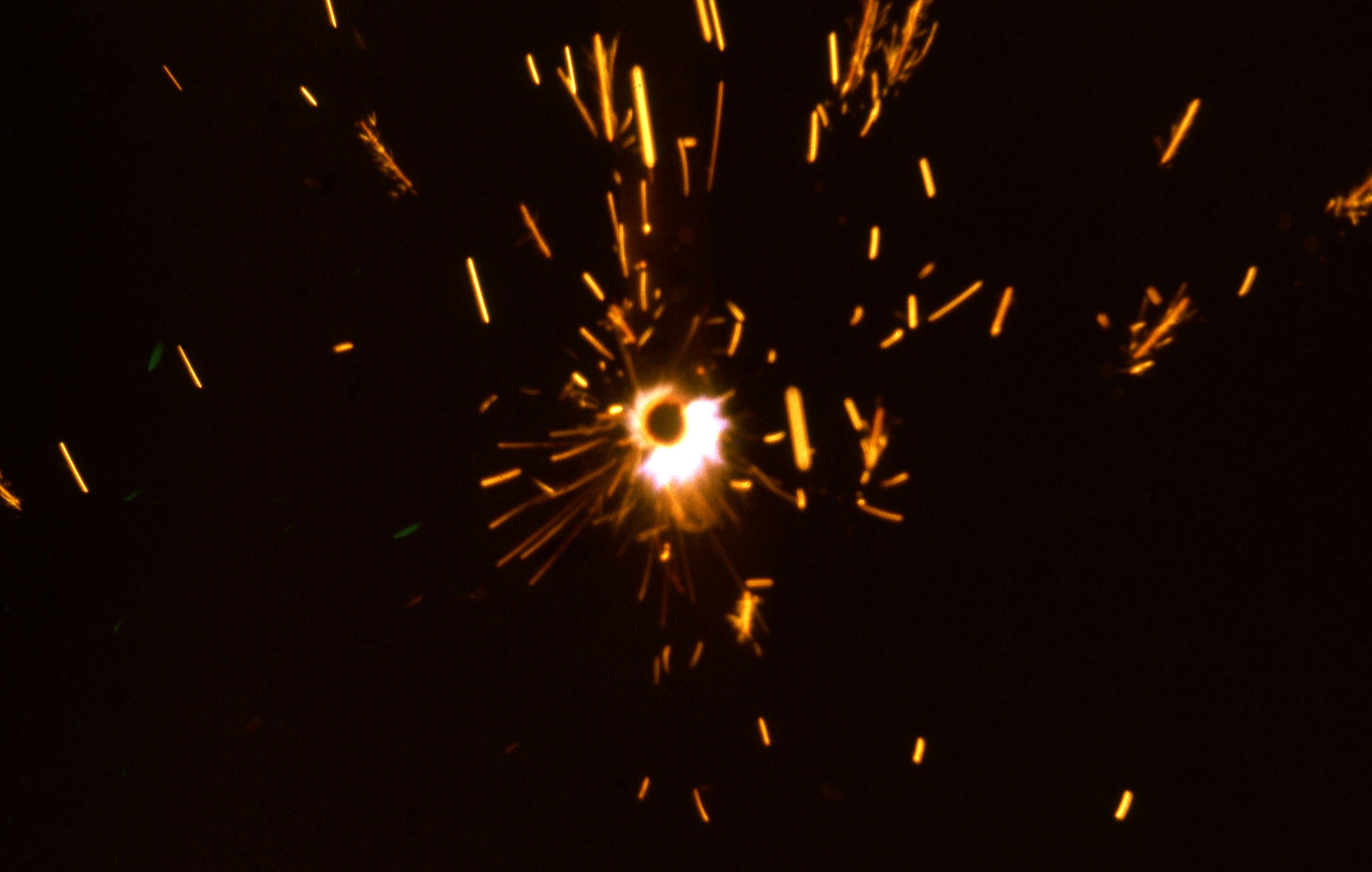 fireworks in a garden in South Shields 1966