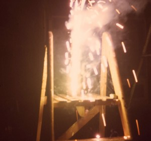 Firework on a stepladder in a garden in South Shields 1966