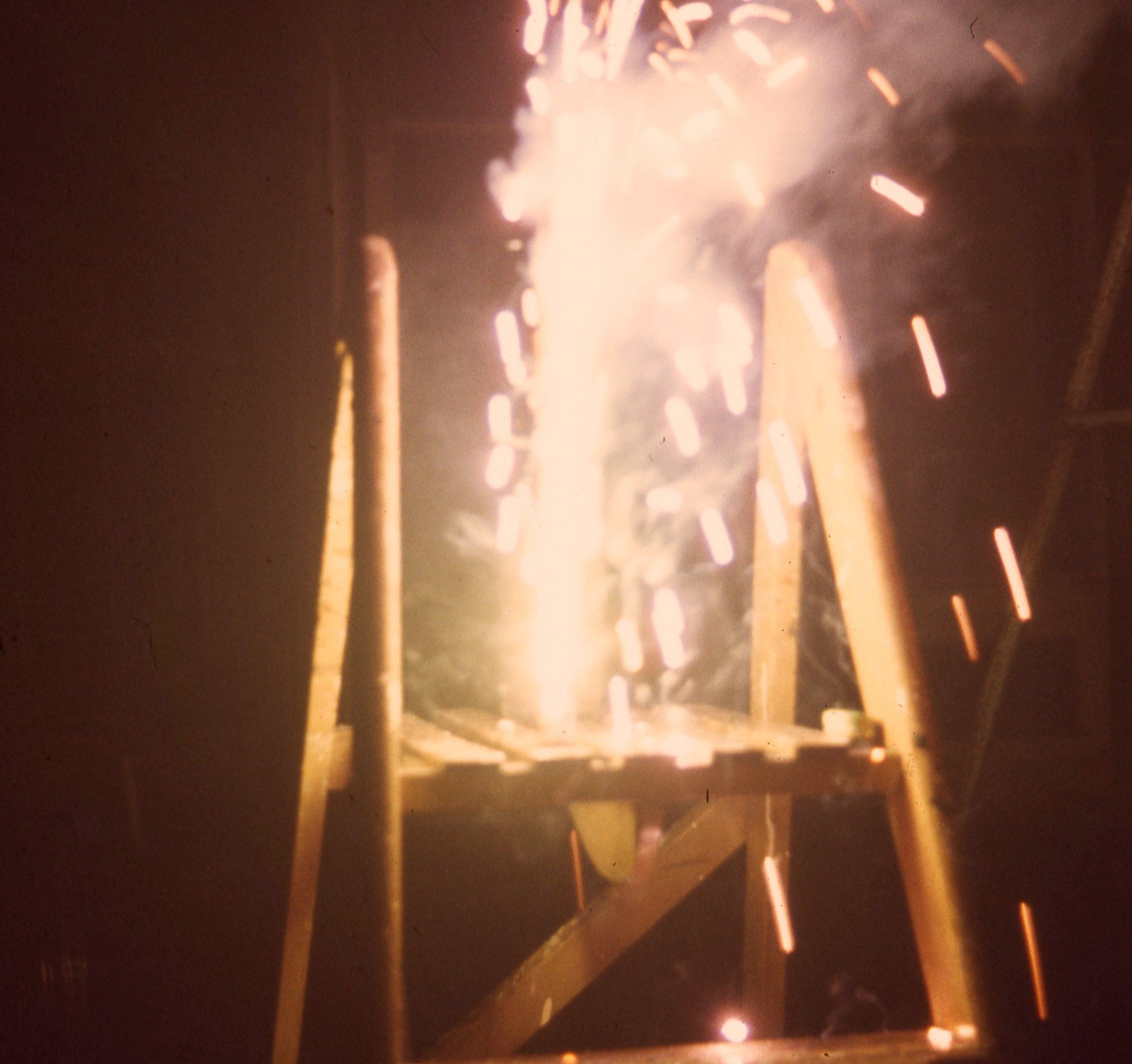 Firework on a stepladder in a garden in South Shields 1966
