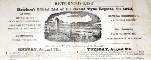 Results sheet for Tyne Regatta 1843