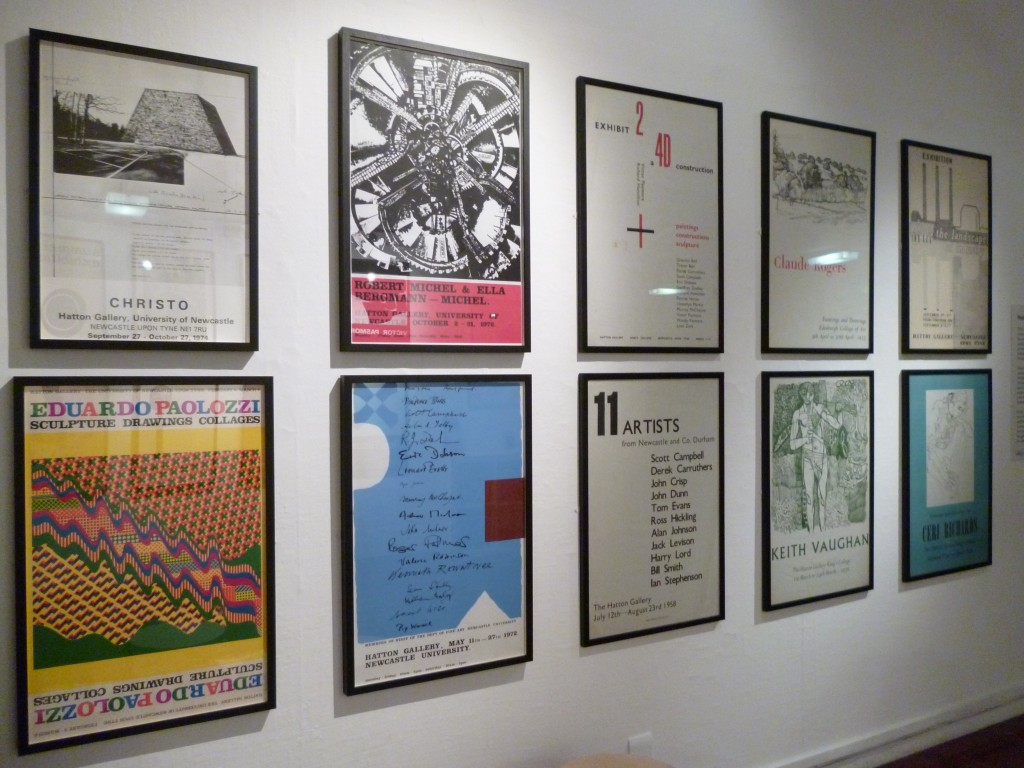 Exhibition view showing posters printed by Kip Gresham in the early 70s
