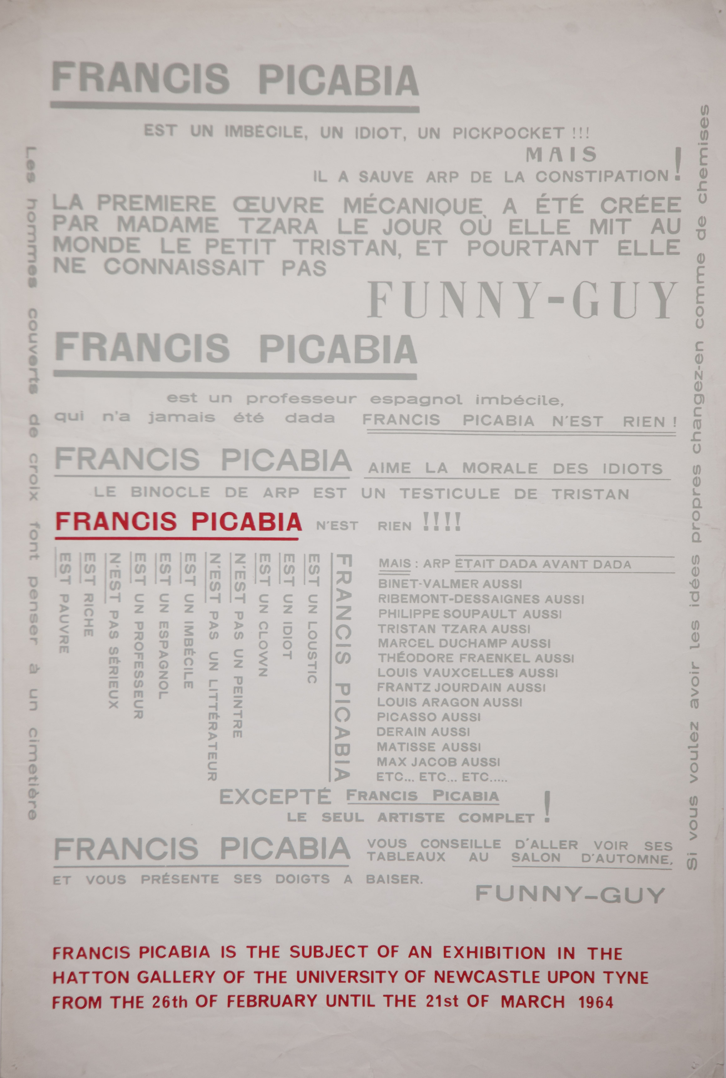 Poster for a 1964 Francis Picabia exhibition curated by Richard Hamilton