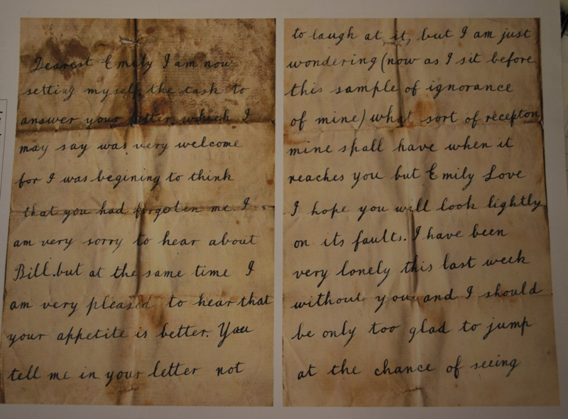 Love letter from George to Emily in 1906