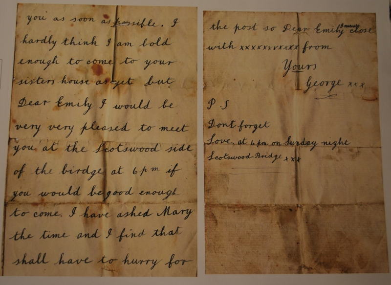 Reverse of love letter from Geroge to Emily in 1906