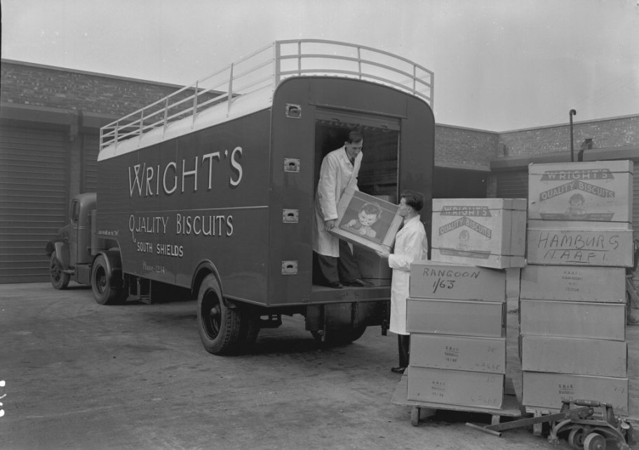 Loading a Wright's Biscuits van