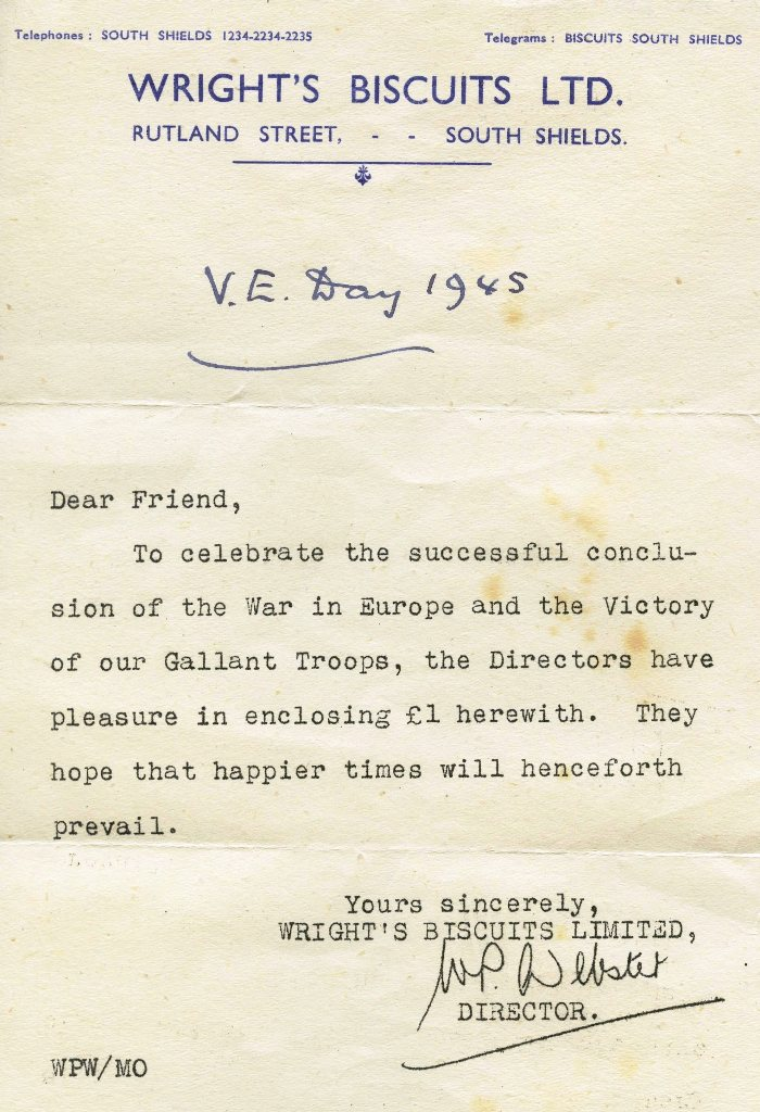 Wright's Biscuits VE Day letter