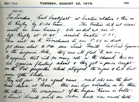 William Bartram - Diary Entry for 22nd August 1916
