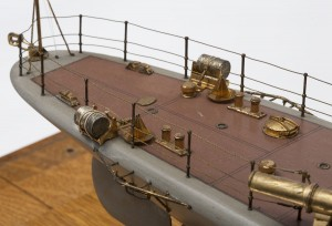 Port and starboard racks with depth charges and release mechanisms