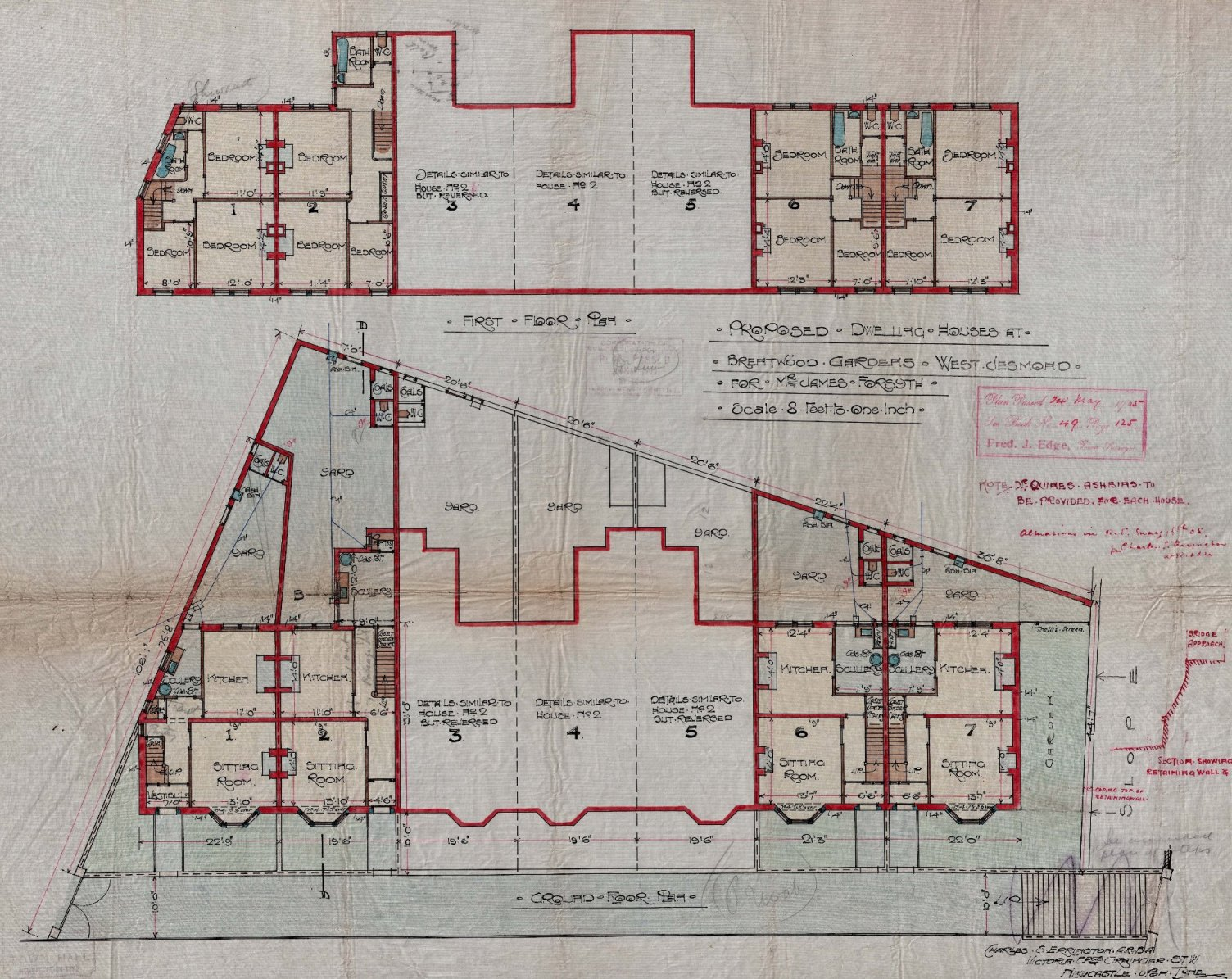 Floor Plans Of Houses At Brentwood Gardens, Jesmond, 1905 (TWAM Ref.  T186/21558)