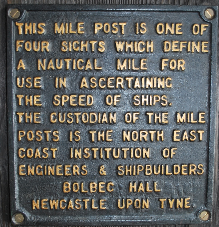 Plate from one of the four posts defining the Hartley Mile, the measured mile used for Turbinia's speed trials TWCMS : E3100