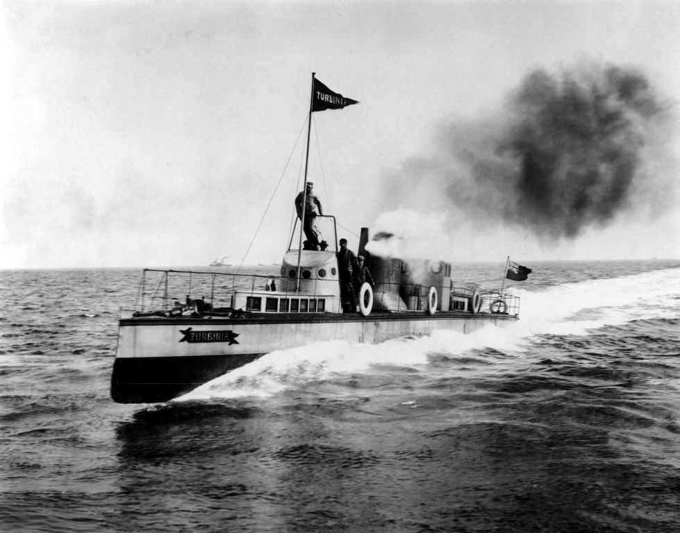 Turbinia at speed in the North Sea by Alfred J West