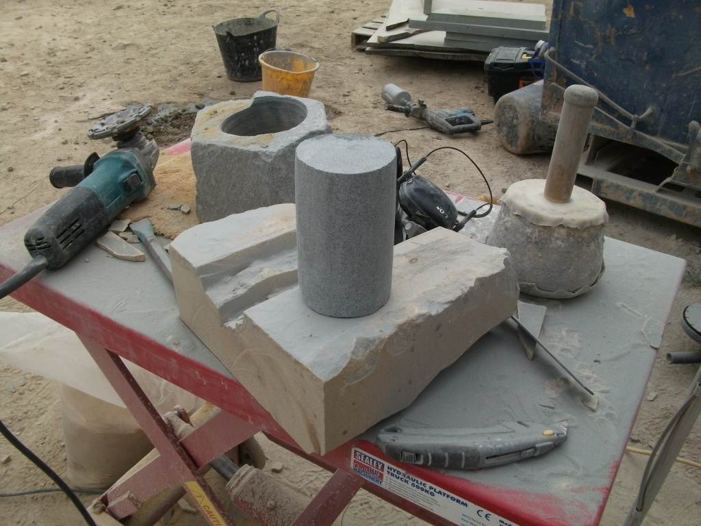 The whinstone cylinder ready for carving