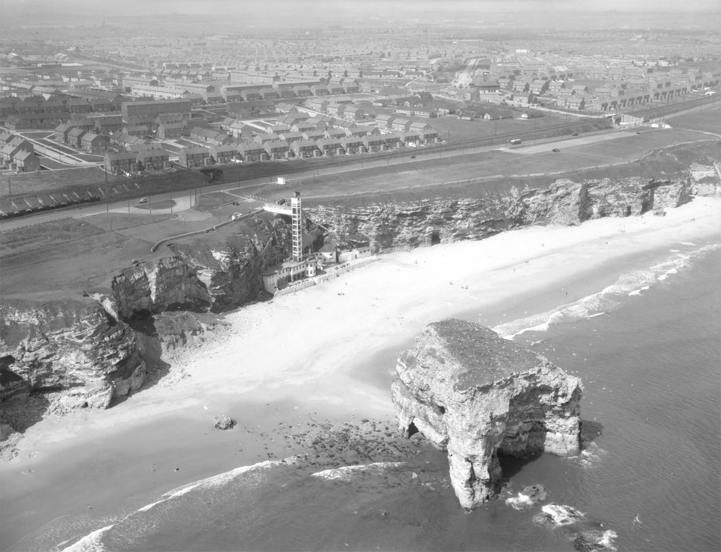 Aerial view of Marsden Grotto, May 1953 (TWAM ref. DT.TUR/2/9996B)