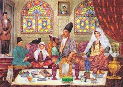 Qajar Family Celebrating Nowruz. Public Domain {{PD Before 1970}}